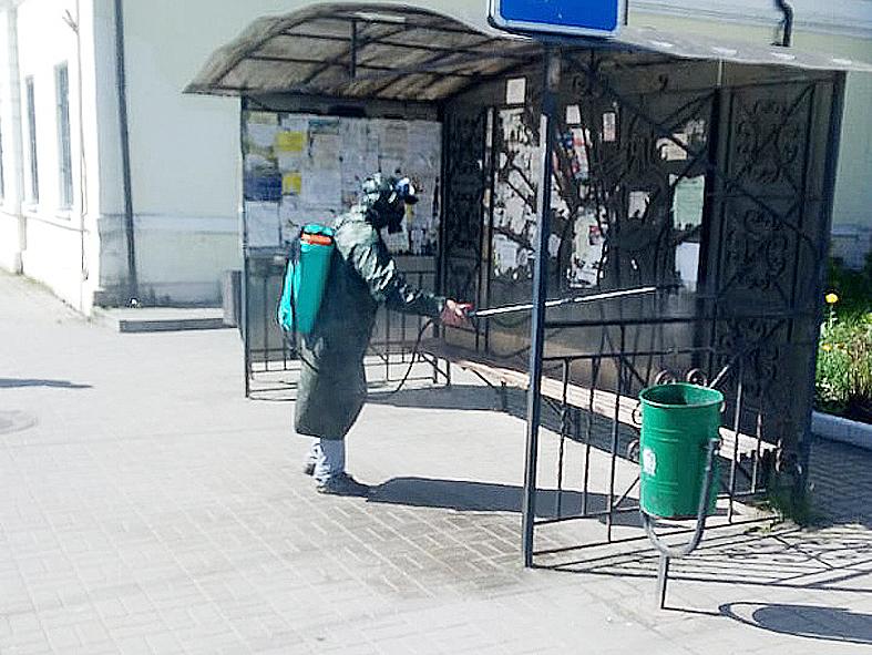 Козельск сегодня снова продезинфицировали